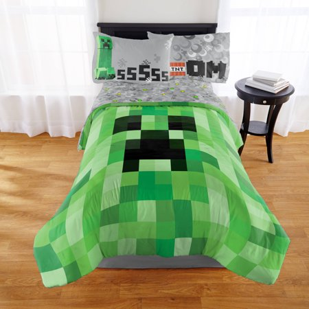 Minecraft twin full bedding comforter walmartcom for Minecraft bedroom set
