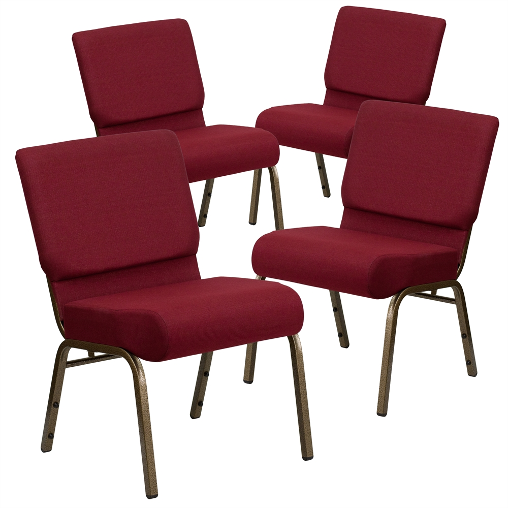 4 Pk. HERCULES Series 21'' Extra Wide Burgundy Fabric Stacking Church Chair with 4'' Thick Seat - Gold Vein Frame