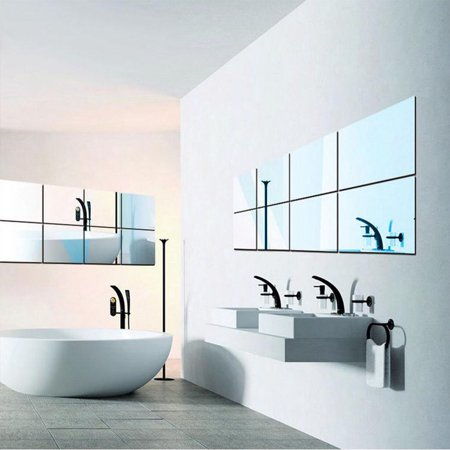WALFRONT 16Pcs 15*15cm Self Adhesive Decorative Mirrors Wall Stickers Mosaic Tiles