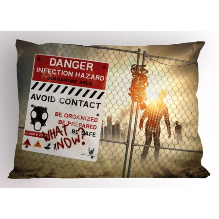 Zombie Pillow Sham Dead Man Walking in Dark Danger Scary Scene Fiction Halloween Infection Picture, Decorative Standard Size Printed Pillowcase, 26 X 20 Inches, Multicolor, by Ambesonne (Halloween Scary Scenes)