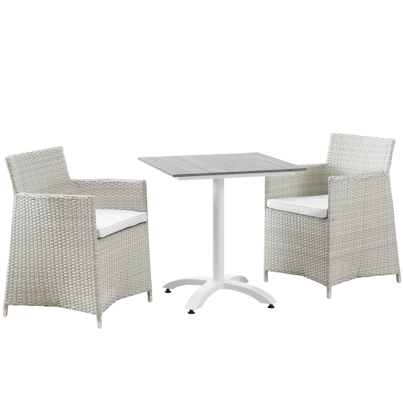 Modern Urban Contemporary 3 pcs Outdoor Patio Dining Room Set, Gray White Plastic by