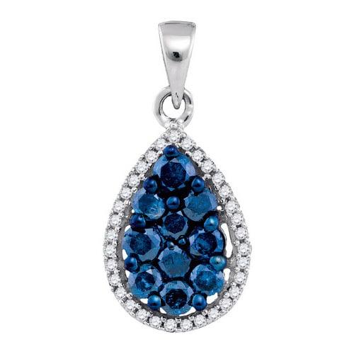 10K White Gold 0.81ctw Charming Pave Diamond Blue Pear Fashion Pendant