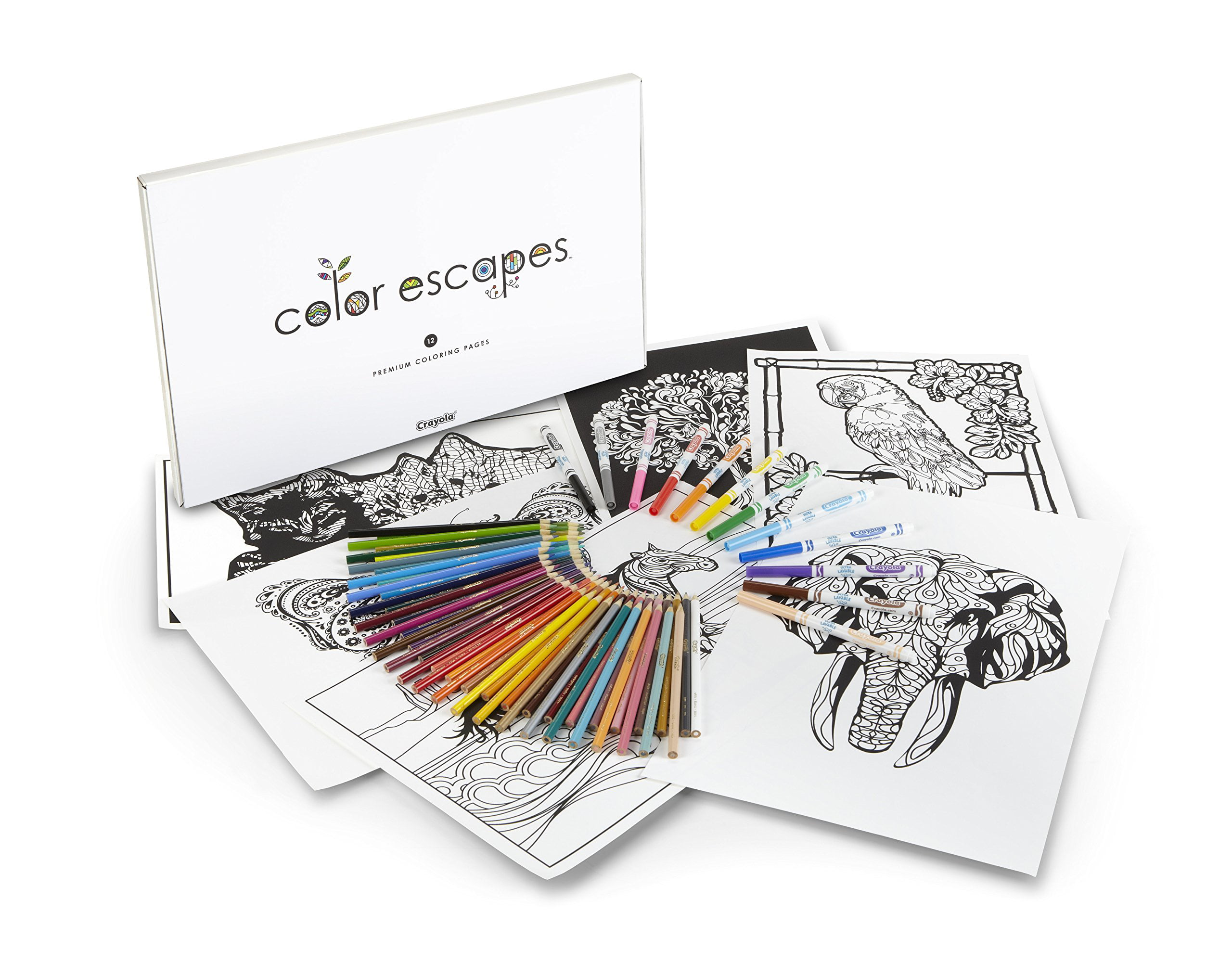 Crayola Color Escapes Coloring Pages & Pencil Kit, Nature ...