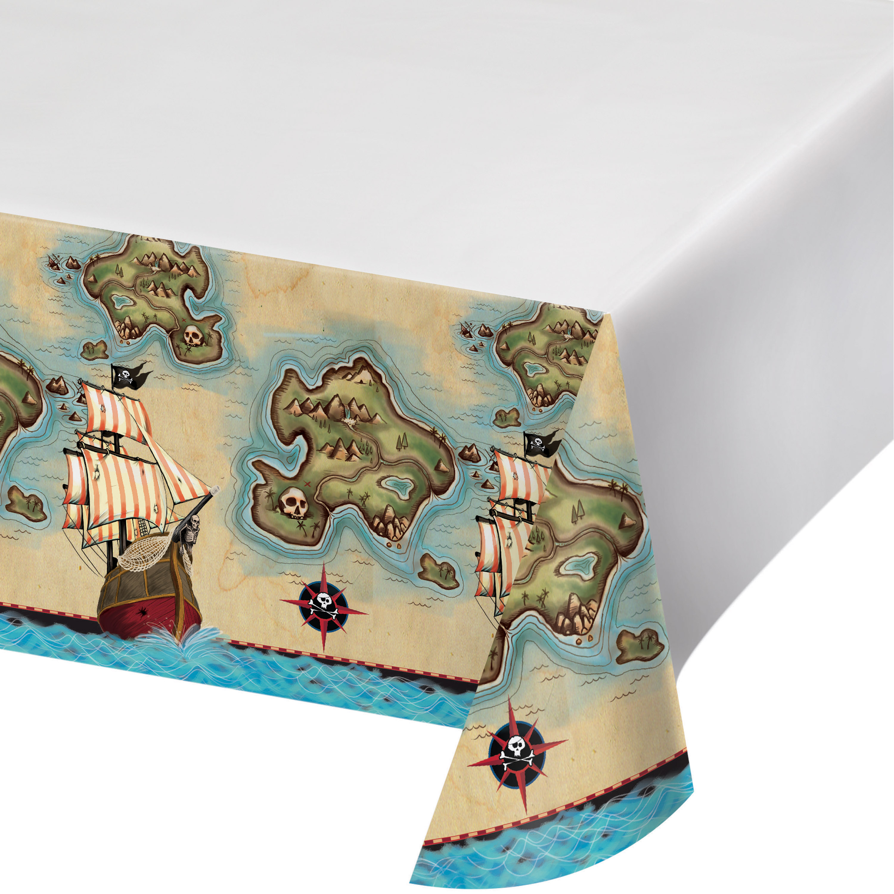 Pirates Map 54 x 102 Plastic Tablecover Border Print/Case of 6