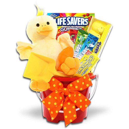 Easter Pail with Candy and Plush Ducky