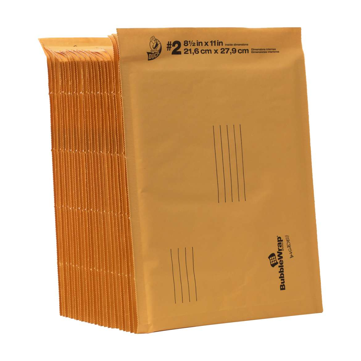 "Duck Brand #2 Bubble Wrap Cushioned Tan Kraft Envelope, 8.5"" x 11"", 25pk"
