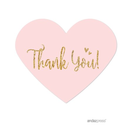 Blush Pink Gold Glitter Print Wedding Heart Label Thank You Stickers, 75-Pack (Personalized Thank You Stickers)