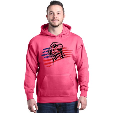 Shop4Ever Men's USA Eagle American Flag Patriotic 4th of July Hooded Sweatshirt Hoodie