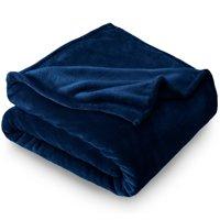Bare Home Ultra Soft Microplush Velvet Blanket - Luxurious Fuzzy Fleece Fur - All Season Premium Throw Blanket (Throw / Travel, Dark Blue)