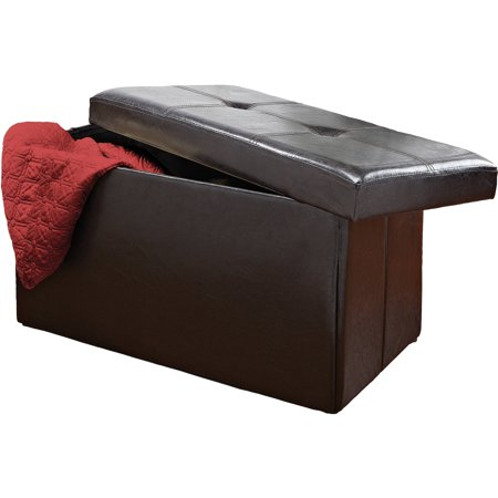 Double Folding Ottoman, Black - Walmart.com