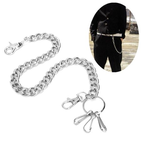 19inch Hip hop Biker Simple Metal Trucker Chain Chic Keychain Jean Wallet (Glitter Metal Keychain)