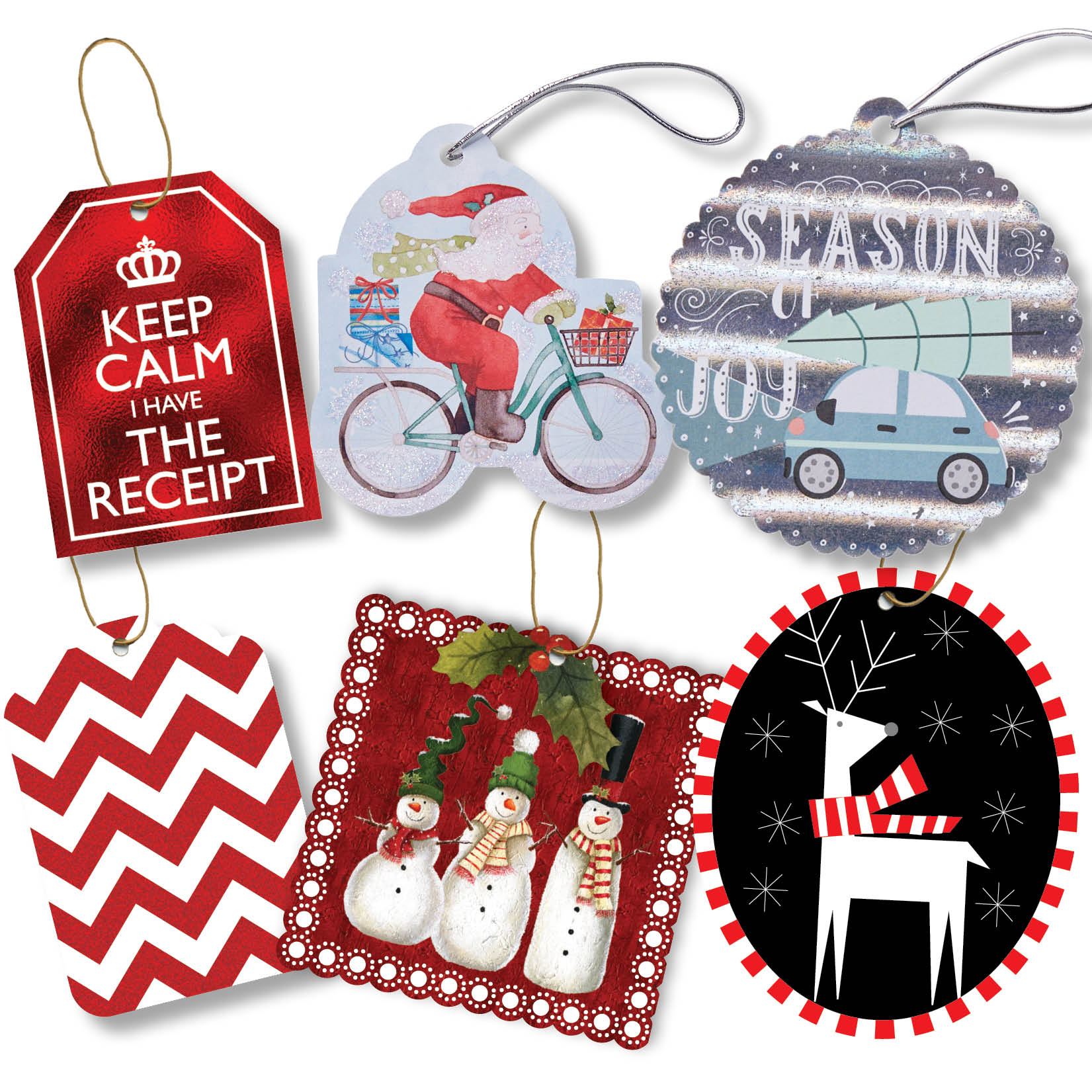 Jillson & Roberts Gift Tag with Tie String Assortment, Christmas Designs (24 Tags)