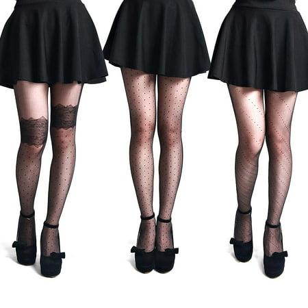 BMC Womens 3 Pair Nude Black Pantyhose Decorative Design Stocking - Set - Pantyhose With Designs