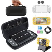 Complete Starter Kit for Nintendo Switch Lite, EEEkit 7in 1 NS Lite 2019 Accessories Bundle W/ Screen Protector, Travel Case, Foldable Stand, Clear Case, Thumb Stick Cap, Type-c Charging Cable