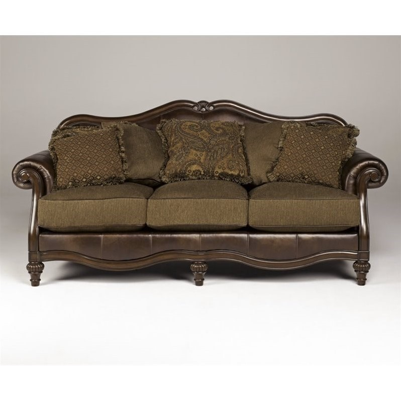 Ashley Claremore Faux Leather Sofa In Antique - Walmart.Com