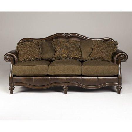 Ashley Claremore Faux Leather Sofa in Antique. Ashley Claremore Faux Leather Sofa in Antique   Walmart com