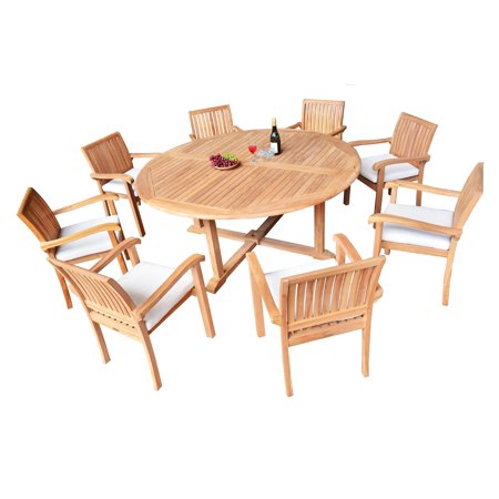 9 PC A Grade Outdoor Patio Teak Dining Set 72 Round Table 8 Nap