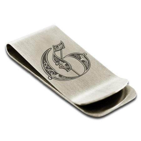 Laser Engraved Money Clip - Stainless Steel Letter G Initial Royal Monogram Engraved Engraved Money Clip Credit Card Holder