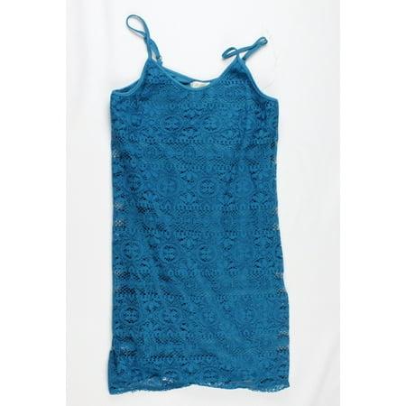 Love Fire Juniors Blue Spaghetti Strap Crochet Sheath Dress S ()