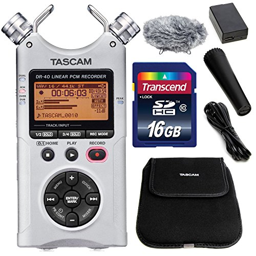 TASCAM DR-40 4-Track Handheld Digital Audio Recorder (Sil...