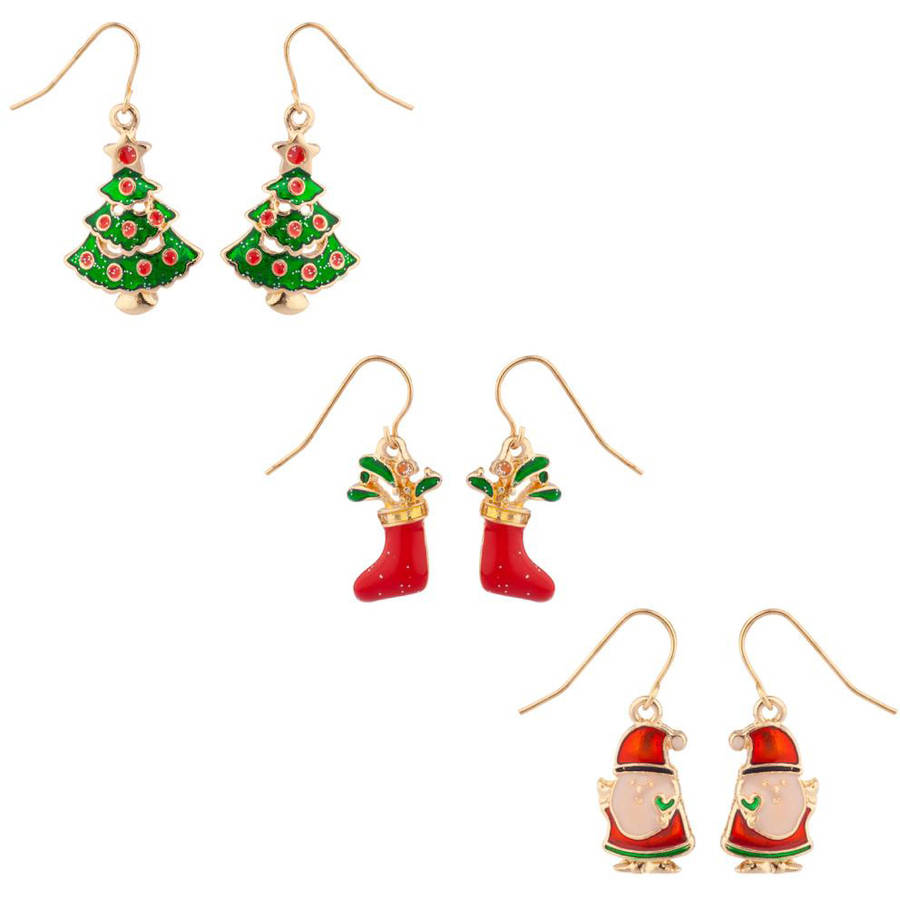 Glittery Christmas Tree, Candycane and Santa Dangle Earrings