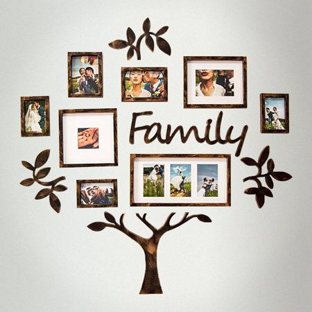 DL furniture - Family Tree Photo Frame Set College Frame - Wall Decoration Combination - PVC Picture Frame Selfie Gallery Collage With Full Size Hanging Template & Wall Mounting Design | Bronze Tone