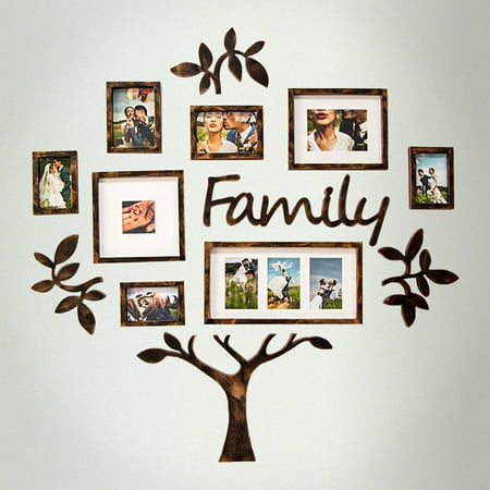 DL furniture - Family Tree Photo Frame Set College Frame - Wall Decoration Combination - PVC Picture Frame Selfie Gallery Collage With Full Size Hanging Template & Wall Mounting Design (5 Custom Photo Templates)