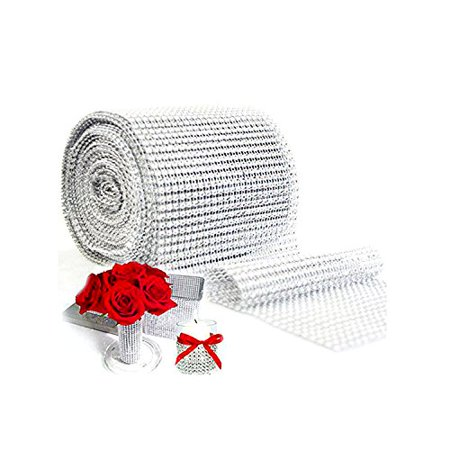 Silver Diamond Rhinestone Ribbon Wrap Bulk DIY Bling-Birthday/ Bridal Shower/Wedding Cake Vase Decorations, Party Supplies,2 Yards - Halloween Cakes Decorations
