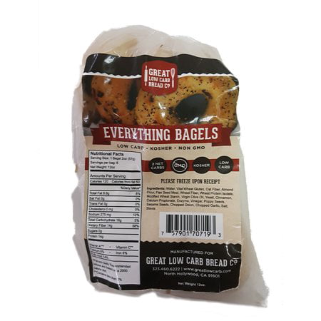 Great Low Carb Bread Company - 1 Net Carb, 16 oz, Everything Bagel, 2 Pack
