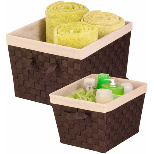 Honey Can Do Woven Basket Set with Handles, Multicolor (Set of 2)