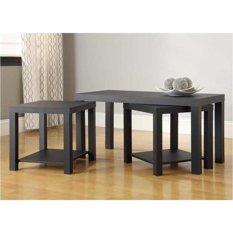 Pemberly Row 3 Piece Coffee and End Table Set in Black