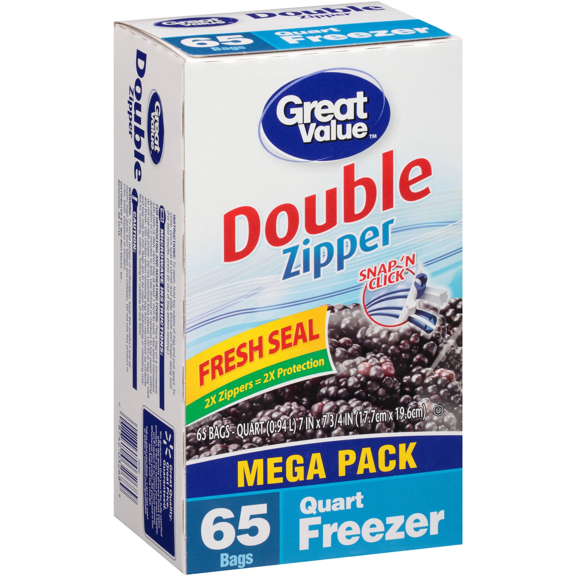 Great Value Double Zipper Freezer Bags, Quart, 65 count