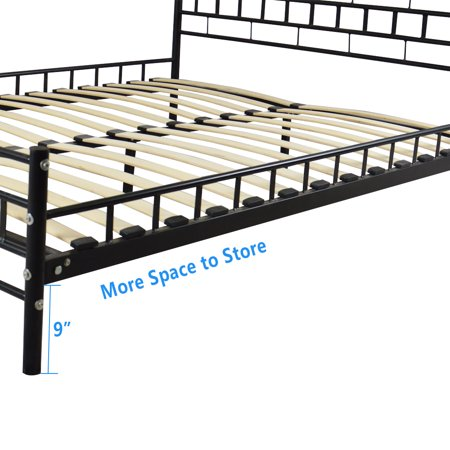 UBesGoo Wooden Bed Slat and Metal Iron Stand Queen Size Platforma Bed Frame with Headboard, Mattress Foundation, Wood Slat Support, Mattress Iron Bed