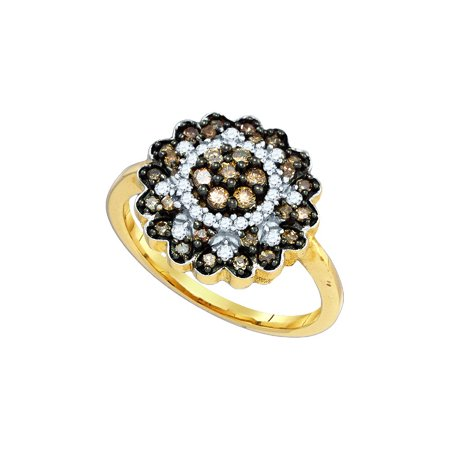 10kt Yellow Gold Womens Round Cognac-brown Colored Diamond Flower Cluster Ring 5/8 Cttw