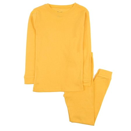 395a7faabcbe Leveret - Leveret Kids Pajamas Boys   Girls Solid Yellow 2 Piece ...