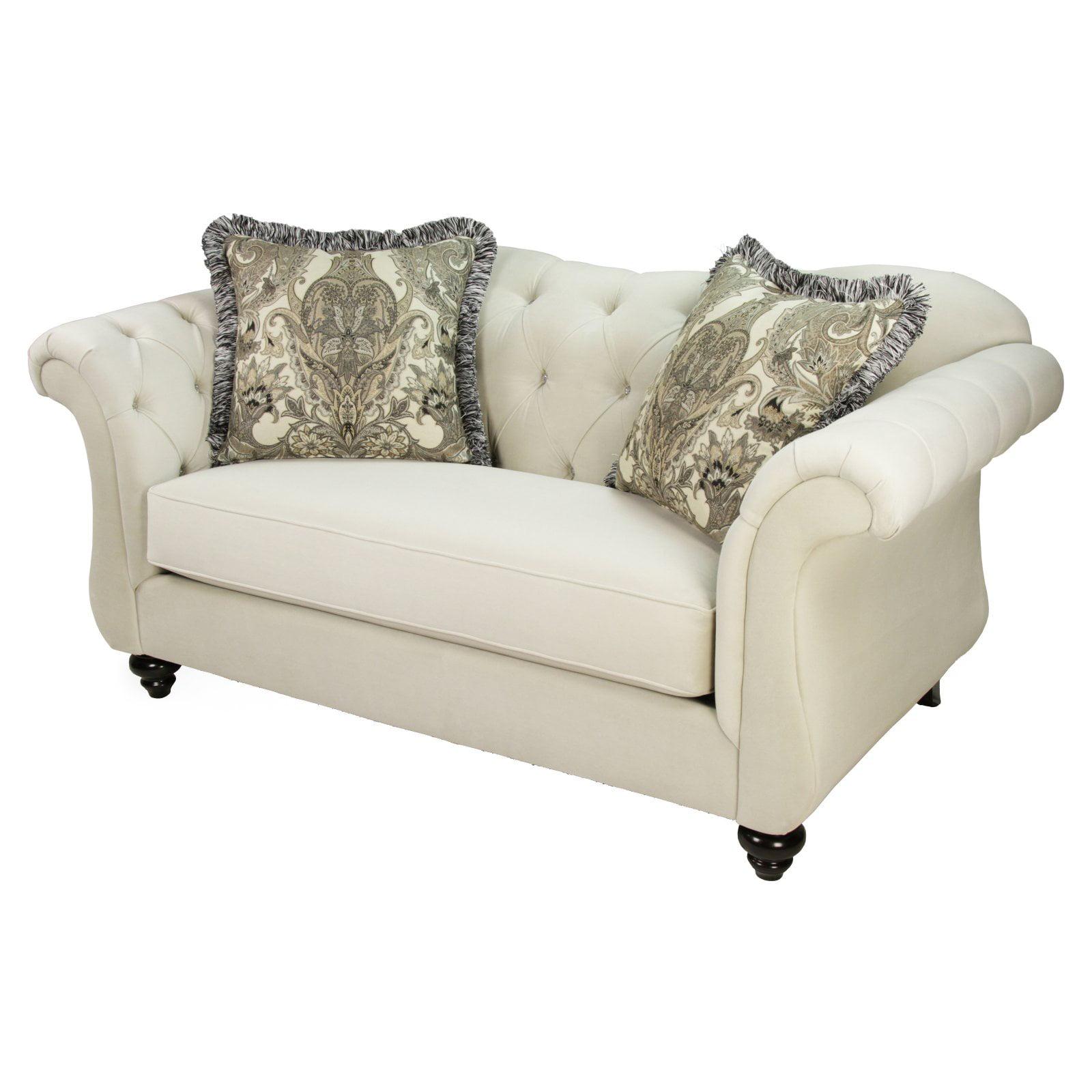 Furniture of America Wellington Premium Fabric Loveseat - Cream White