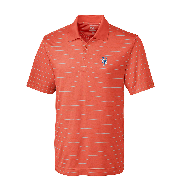 New York Mets Cutter & Buck Franklin Stripe DryTec Polo - Orange/White