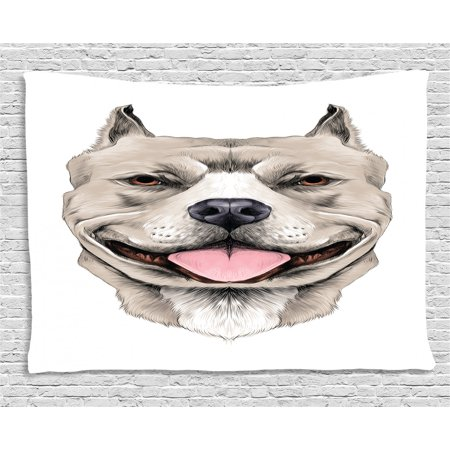 Pitbull Tapestry, American Pit Bull Terrier Realistic Head Sketch Domestic Canine Animal Portrait, Wall Hanging for Bedroom Living Room Dorm Decor, 60W X 40L Inches, Multicolor, by Ambesonne Bull Terrier Tapestry