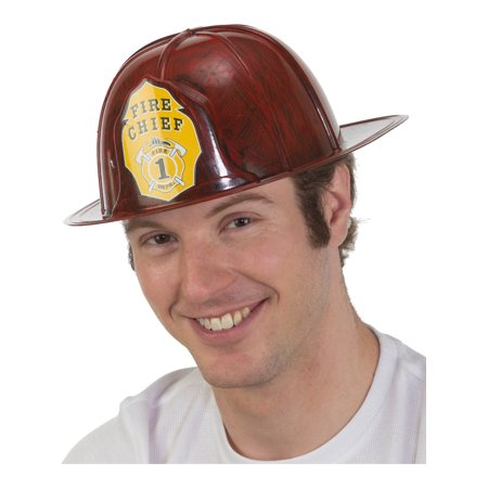 Adult's Brushed Red Fireman Firefighter Chief Hat Costume - Chiefs Hats