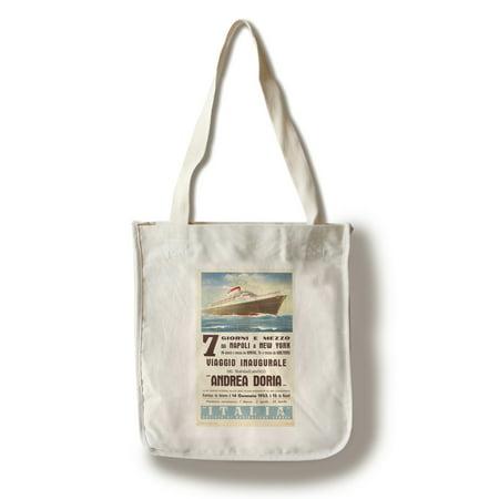 Kota Doria Cotton Saree - Switzerland - Andrea Doria - (artist: Patrone, Giovanni c. 1953) - Vintage Advertisement (100% Cotton Tote Bag - Reusable)