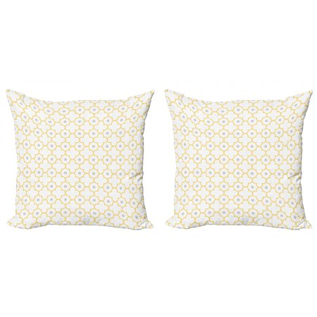 Quatrefoil Throw Pillow Cushion Cover Pack of 2, Moroccan Style Lattice Pattern Dots in Daisy Diamond Petals 4 Leaf Clover, Zippered Double-Side Digital Print, 4 Sizes, Brown White, by Ambesonne