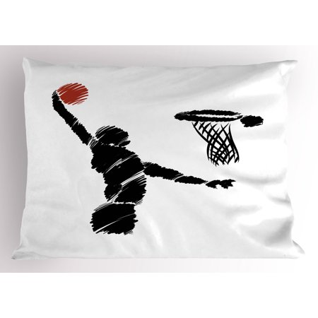 Youth Pillow Sham Freehand Drawing Style Basketball Player Jumping Athlete Training Artwork, Decorative Standard Size Printed Pillowcase, 26 X 20 Inches, Black White Redwood, by Ambesonne