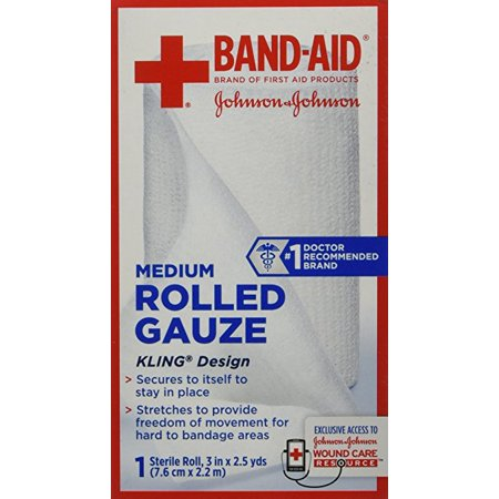Band Aid Brand Of First Aid Products Rolled Gauze  3 Inches By 2 5 Yards