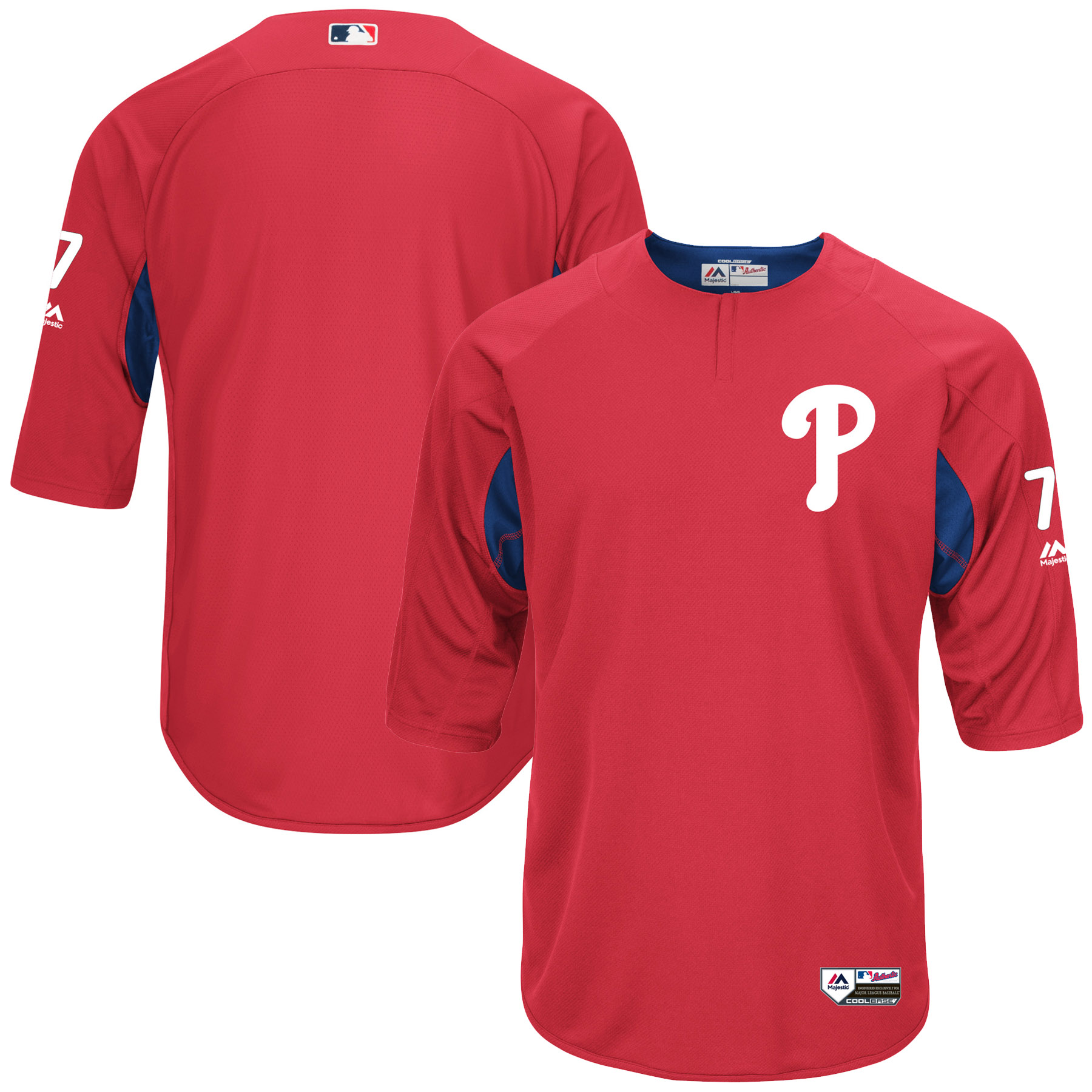 Men's Majestic Maikel Franco Red/Royal Philadelphia Phillies Authentic Collection On-Field 3/4-Sleeve Player Batting Practice Jersey