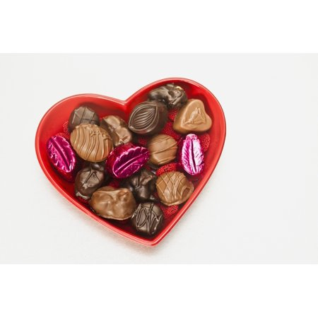 Valentines heart-shaped tray with assortment of sweets Canvas Art - Bill Brennan  Design Pics (38 x 24)
