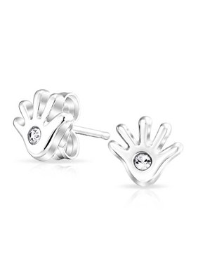 6682a04f6 Product Image Sterling Silver Tiny Hand Crystal Childrens Stud Earrings