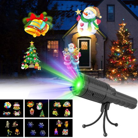 Enjoyofmine 2 in 1 Christmas Halloween LED Projector Lights, Decoration Light & Handheld Flashlight Projector Lamp with 6Pieces Slides for Home Party, Birthday, Christmas, Halloween Decor