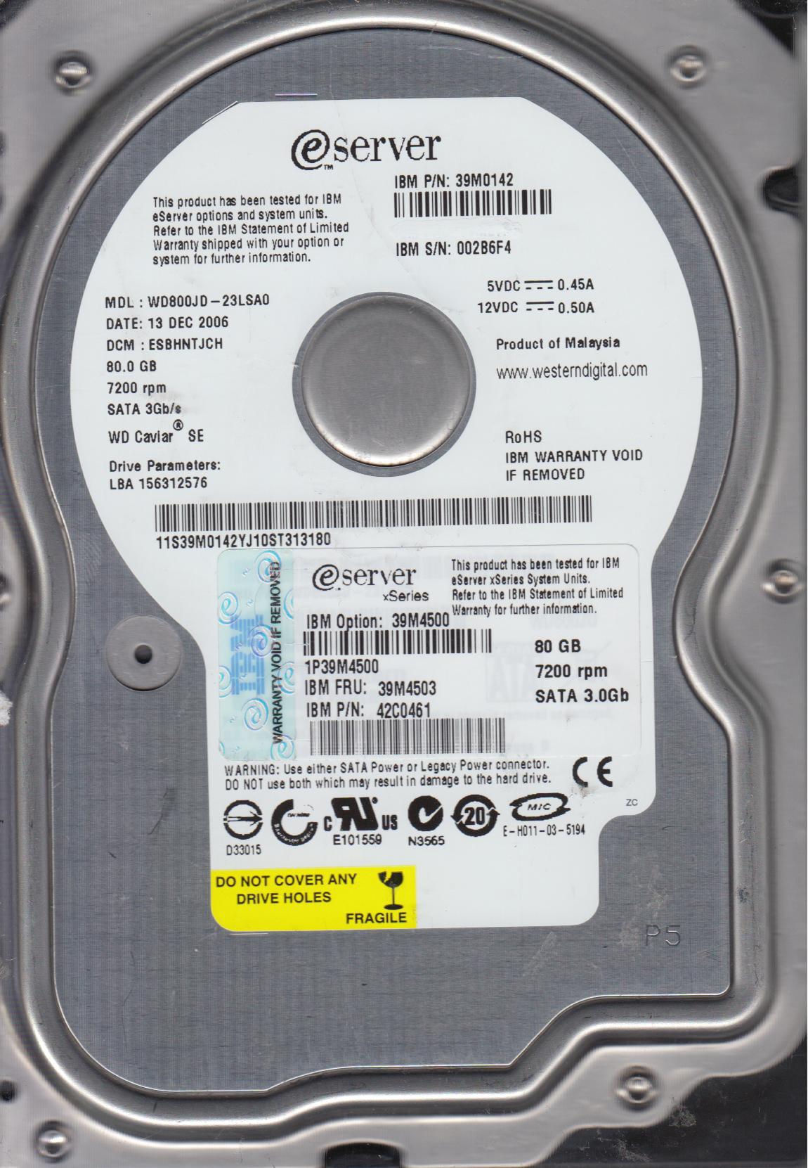 Western Digital eServer WD800JD-23LSA0 80GB 7200RPM SATA Hard Drive