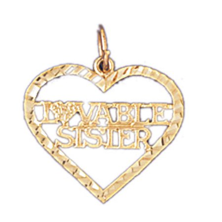 Yellow Gold Plated 925 Sterling Silver 20Mm Lovable Sister Pendant  0 935 Gram Weight