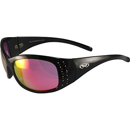 Global Vision Marilyn 2 Sunglasses Rhinestone Decorated Black Frames G-Tech Pink Lens - Decorated Sunglasses